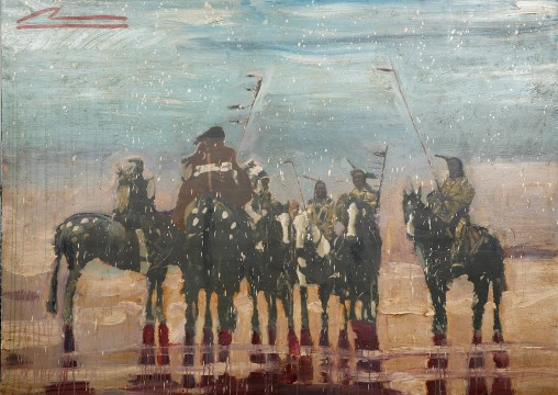 Mateo Romero, War Music II, 2008 Mixed media on wood
