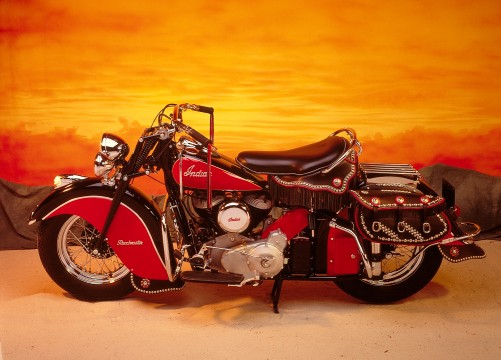 Indian Roadmaster motorcycle, 1948, Indian Motorcycle Manufacturing Company, Leather, metal