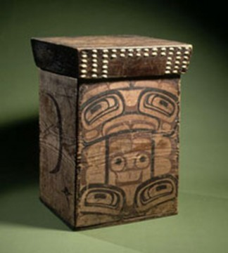 Bentwood box, Northwest Coast, 1860–1880, Bent and painted cedar with inlaid shells