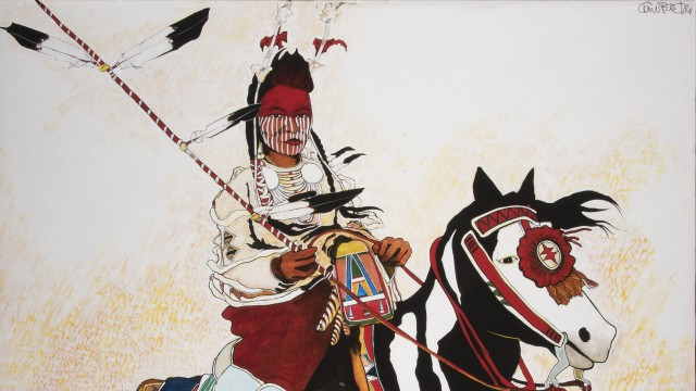 Kevin Red Star, Strikes the Enemy, 2017. Acrylic on canvas. Masters of the American West James R. Parks Trustees' Purchase Award, 2018. Autry Museum; T2018-14-1.